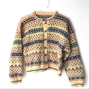 Cottagecore Cropped Button Up Fair Isle Cardigan